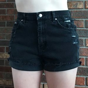 Vintage Lee high waisted cutoff black jean shorts